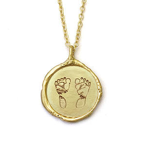 14k gold Baby Footprint necklace